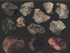 48个真实的石头石块模型