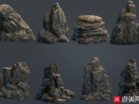 游戏模型巨砾石头石块模型合集