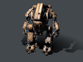 机器人   黄色  赛博朋克  做旧生锈机甲模型