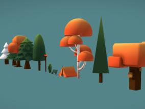 红色卡通树沙发低模沙树风景树
