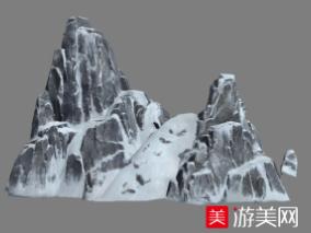 很高的雪山石头山雪景写实场景模型