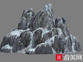 黑色石头山峰写实场景高山雪峰游戏场景