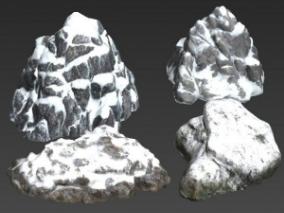 4个雪地上的石头写实场景模型