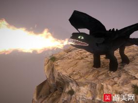 驯龙记-夜之怒黑色龙fbx绑定动画模型