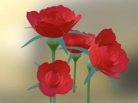卡通玫瑰花cg模型