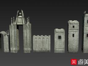 中世纪科幻城堡古建筑次世代3d模型下载