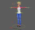 绑定卡通女孩Maya模型