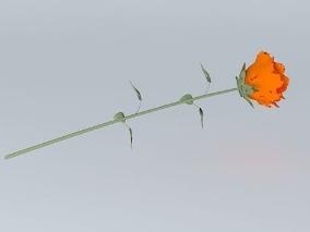一支玫瑰   玫瑰花cg模型