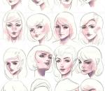头部各种不同角度的绘画素材,更好的了解透视关系