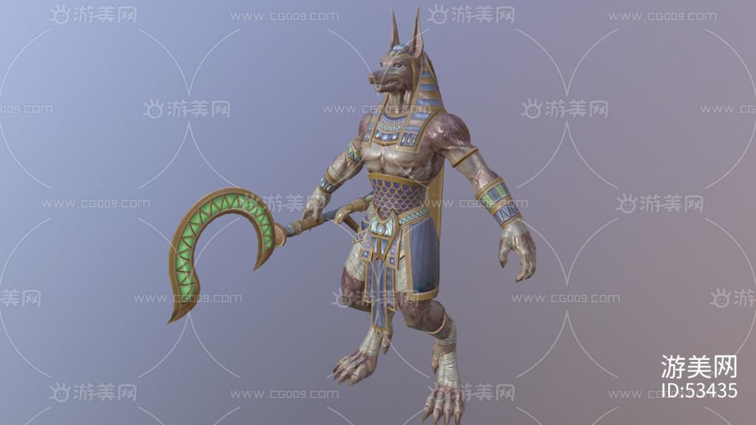 神之浩劫SMITE——埃及狼人角色模型(带动作绑定)(带Fbx)