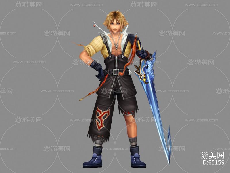 游戏模型 手绘 男剑客 帅小伙