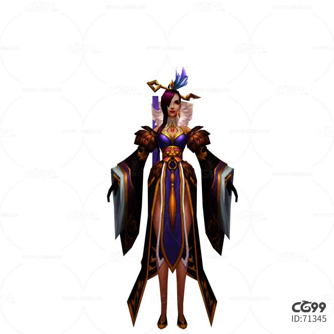 游戏模型 手绘模型 美女角色  宫女