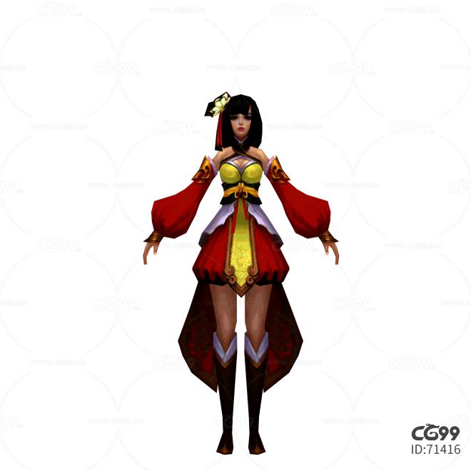 游戏模型 手绘模型 美女角色  宫女、丫鬟