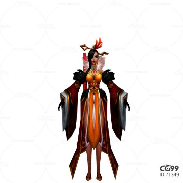 游戏模型 手绘模型 美女角色  漂亮小姐 宫廷皇后