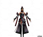 游戏模型 手绘模型 美女角色  漂亮小姐 女剑客