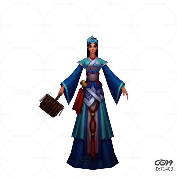 游戏模型 手绘模型 美女角色  古代侍从