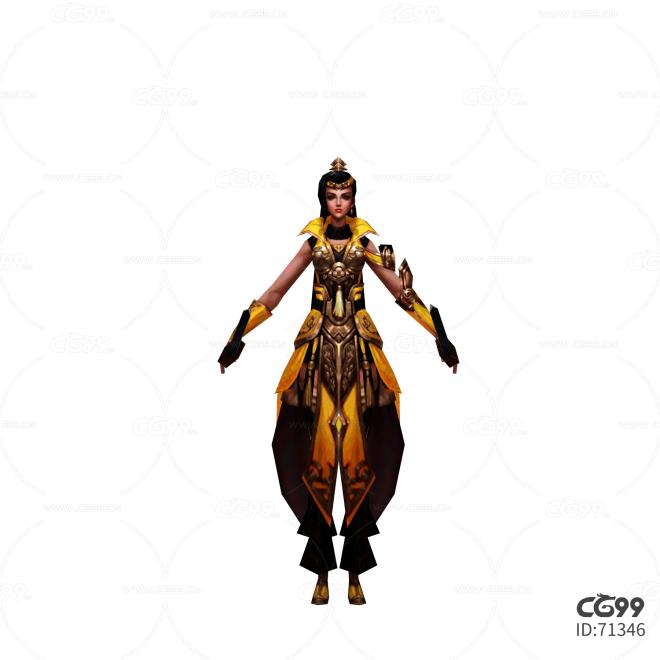 游戏模型 手绘模型 美女角色  宫廷贵族
