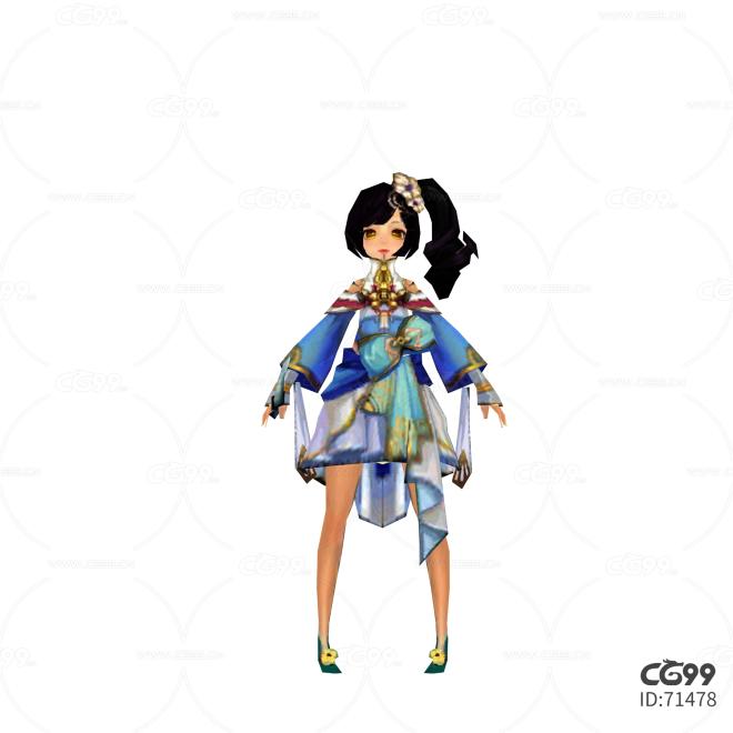 游戏模型 手游角色模型  漂亮小妹妹模型