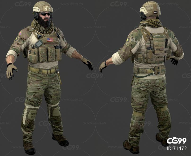 游戏中的人物3D模型 美国大兵 士兵 战士 男人