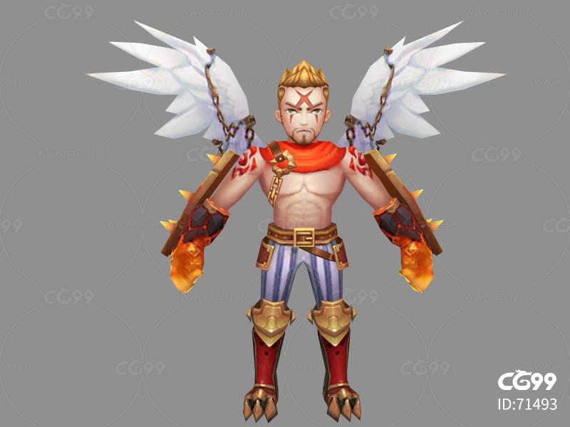 男天使   Q版   卡通    游戏模型   手绘模型