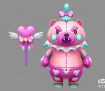 Q版   卡通    游戏模型   手绘模型   粉红熊