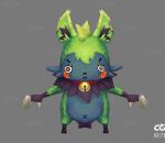游戏模型   手绘模型   Q版   卡通   绿毛蝙蝠