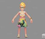 Q版   卡通    游戏模型   手绘模型   沙滩男孩