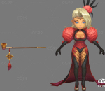 Q版   卡通    游戏模型   手绘模型   抽烟女