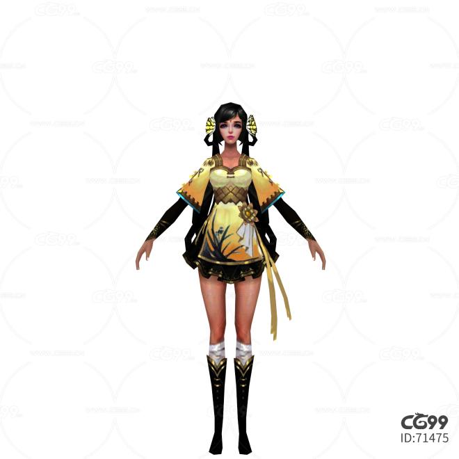 游戏模型 手游角色模型  丫鬟 美女模型
