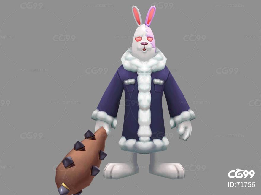 大白兔   Q版   卡通    游戏模型   手绘模型