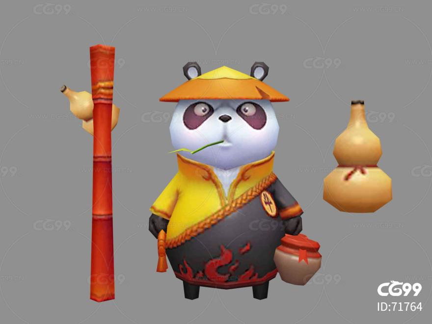 功夫熊猫   Q版   卡通    游戏模型   手绘模型