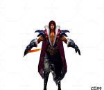 中国风武侠角色  手绘模型  游戏低模  披风战士模型