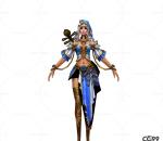 中国武侠玄幻手游角色模型  冰雪女皇