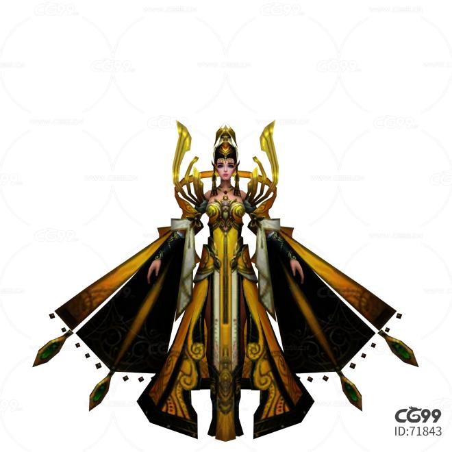 中国武侠玄幻手游角色模型   女皇后