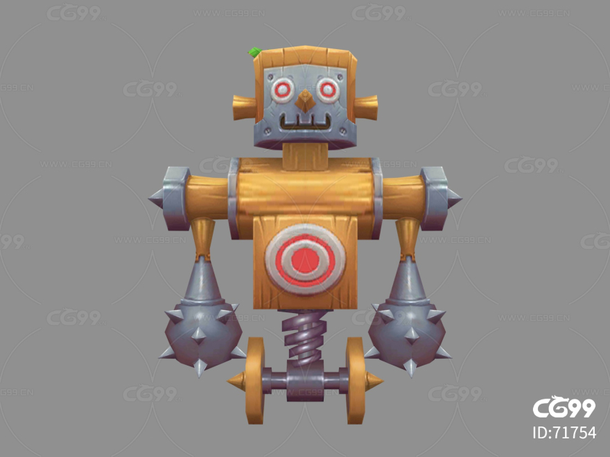 木头人   木人桩   Q版   卡通    游戏模型   手绘模型