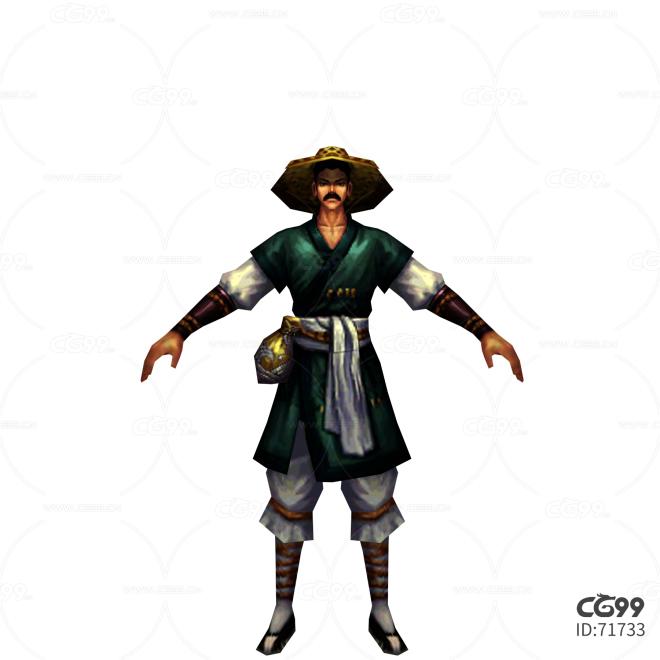 中国风武侠角色  手绘模型  游戏低模  NPC系列模型 农民