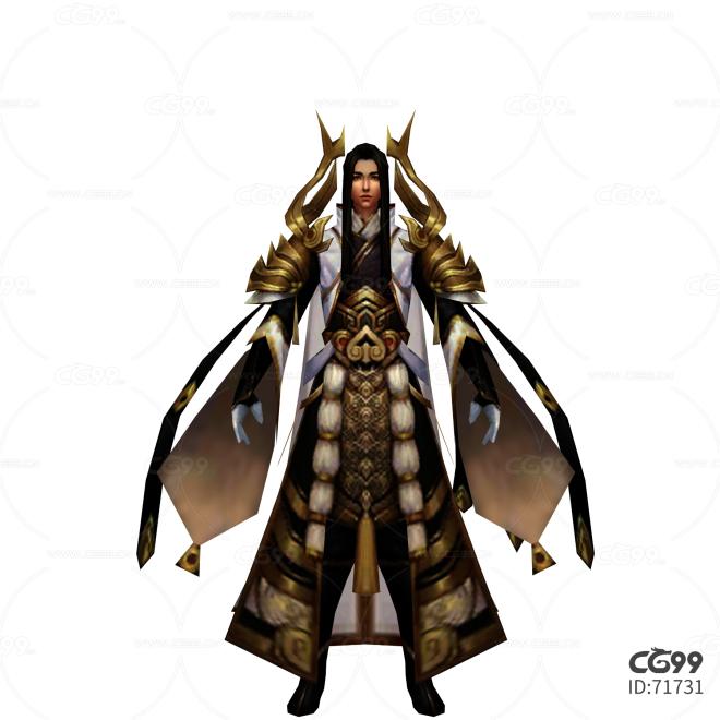 中国风武侠角色  手绘模型  游戏低模  袁公子