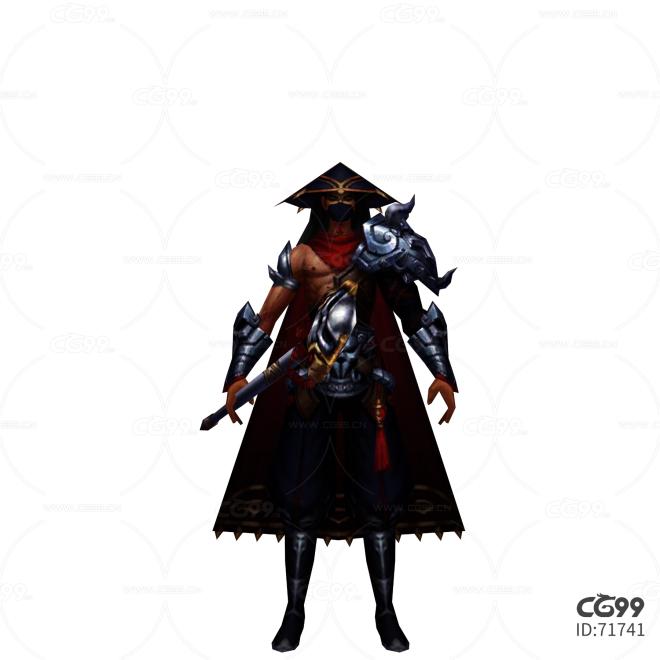 中国风武侠角色  手绘模型  游戏低模 蒙面战士模型