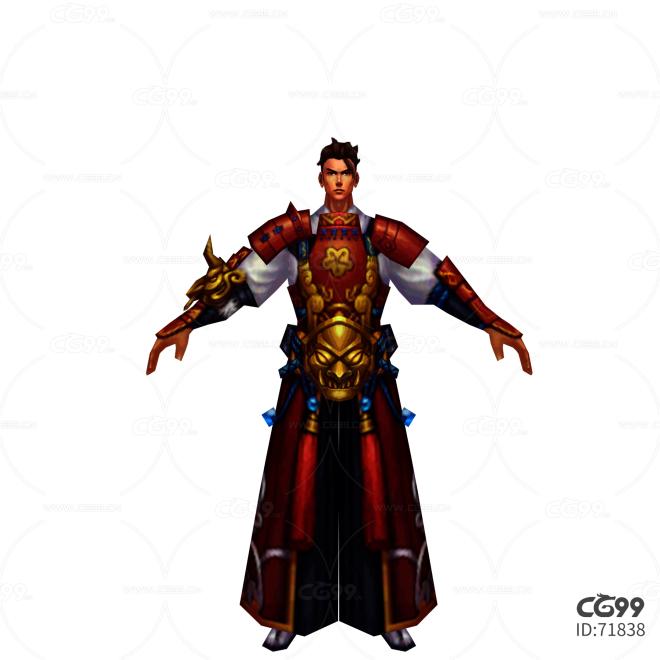中国武侠玄幻手游角色模型   男角色