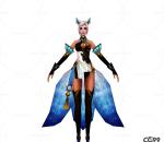 中国武侠玄幻手游角色模型  狐女