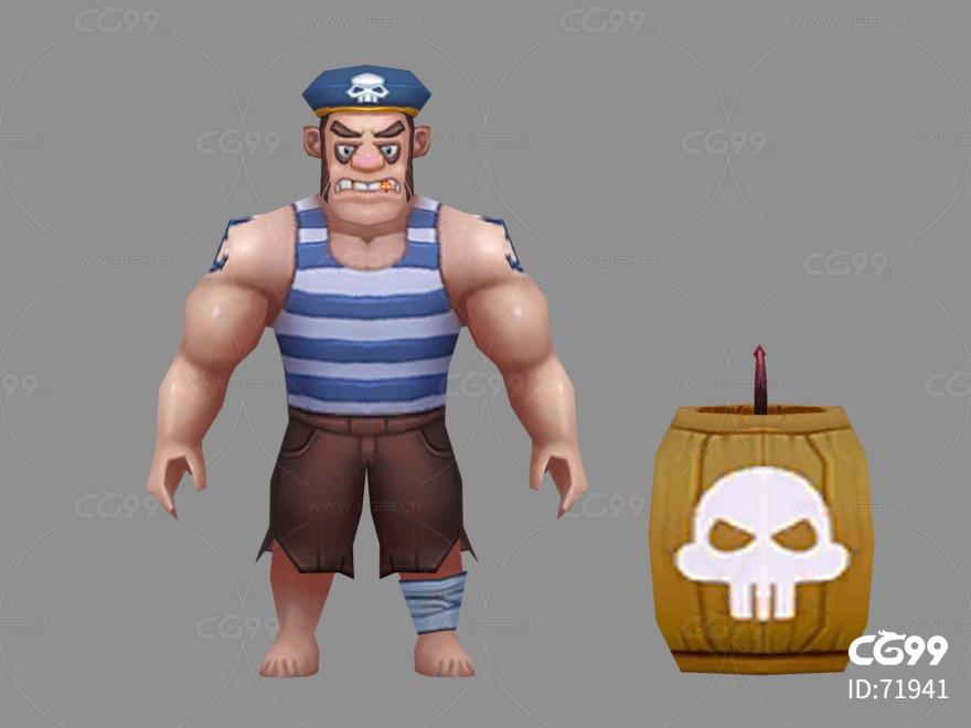 海盗   Q版   卡通    游戏模型   手绘模型