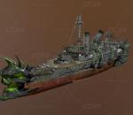 怪兽大船 破损的穿 海盗船 夜魔船 炮台