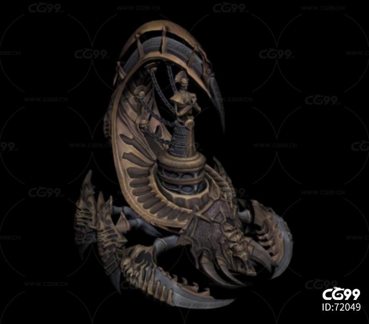 坐骑 魔兽蝎子 游戏boss带骨骼2种皮肤