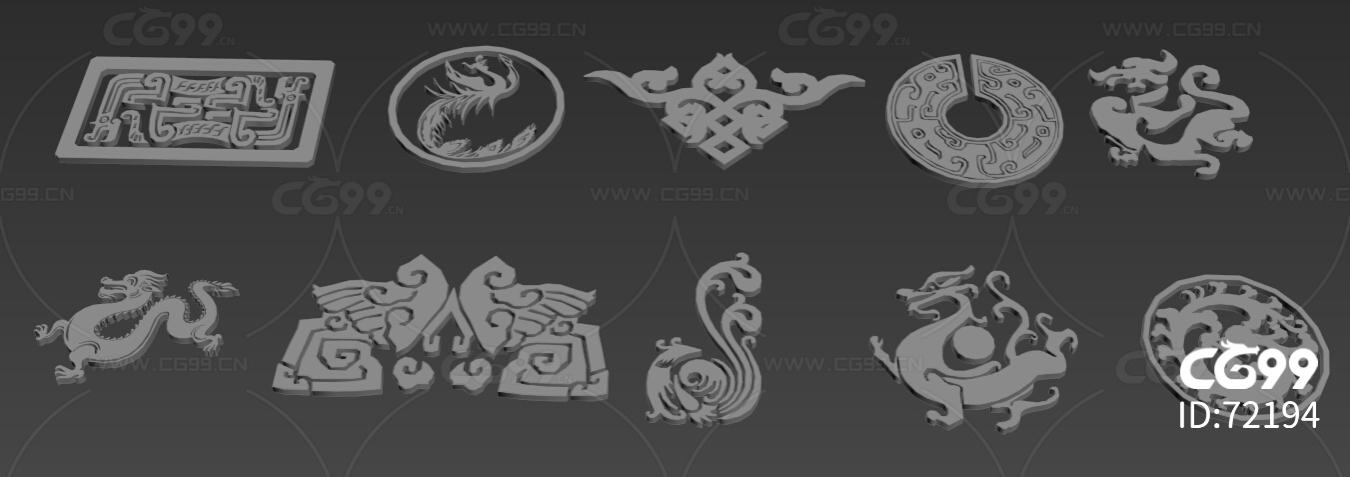 中国风花纹龙纹