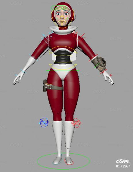 maya绑定科学家科研人员飞行员未来女战士机甲装备套装