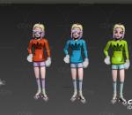 旱冰鞋女孩 彩色衣服小女生 可爱的卡通女孩 有绑定动画