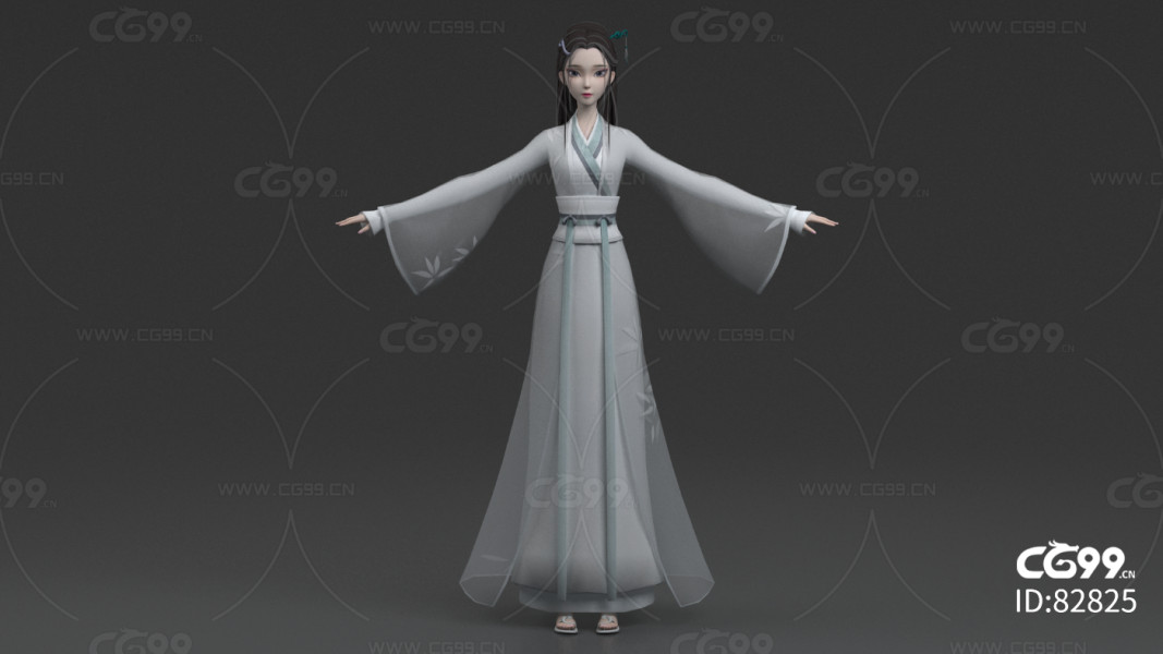 maya+3dmax+fbx白蛇古代美女古装女人