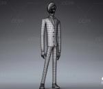 卡通动画人物 米奇 青年西服男人模型 带绑定 有后期文件