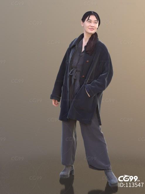 3D扫描角色 现代女性 休闲服饰