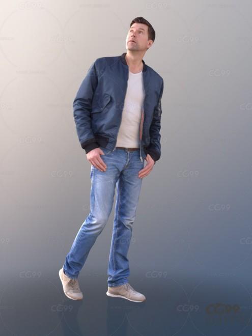 3D扫描角色 现代男性 休闲服饰 回头向上看